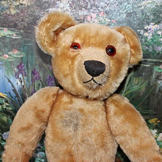 "Old Antique Mohair Chad Valley, tagged Bear.  One eye is broken in half. 16"" tall in size,  antique Bear!"