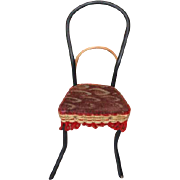 "Bentwood doll chair, original fabric on seat and wool trim.  5 1/2"" tall in size 2 3/4"" wide on the legs. Doll house furniture!"