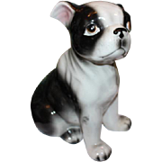 "Adorable large Dog figurine, Boston Bull Dog figurine, 8"" tall in size, Made in Japan! Porcelain figurine. So cute!"