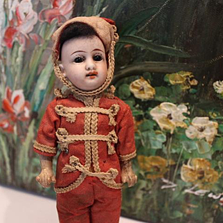 "6 3/4"" tall on this Gebruder Kuhnlenz Oriental Boy doll in all original condition! No hairlines! bisque head, compo body, Antique doll."