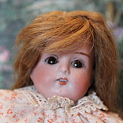 "Armand Marseille, AM, Mabel doll, German Antique doll, 12"" tall, sleep eyes, leather shoes, replaced arms, repair on top of leather foot. Bisque shoulderhead."