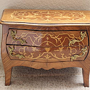 French Antique 2 drawer childrens, doll cabinet, commode toy chest of drawers. 1920's era Louis XV style commode,
