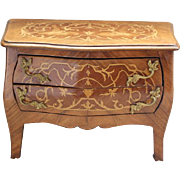 French Antique 2 drawer Bombe childrens, doll cabinet, commode toy chest of drawers. 1920's era Louis XV style commode,