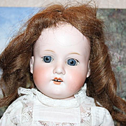 "22 1/2"" tall AM, Armand Marseille German Antique Doll, no hairlines, great 2 piece lace outfit, pantaloons, no hairlines, blue sleep eyes, human hair wig!"