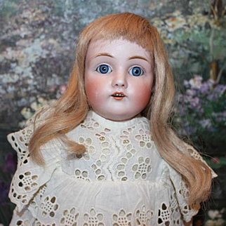 """16"""" tall German Antique Kestner Doll, Original plaster pate intact, Great old clothes, new socks & shoes. Blue glass sleep eyes. German bisque head. Leather body"""