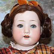 "21"" Tall, German Antique Doll, by Ernst Heubach Koppelsdorf, original body, bisque head and hands, shoulderhead, blue sleep eyes, eyelashes, great condition!"