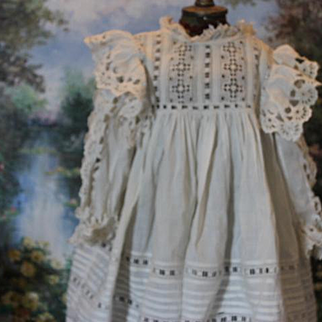 """Beautiful White cotton, Antique lace doll dress, old dress, all original, not newly made, fancy lace trim.  17 3/4"""" long, Should fit a 26"""" to 28"""" tall doll!"""