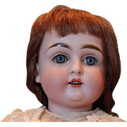 """Early model, Small Alphabet German bisque head Antique Kestner doll, beautiful face, only, 13"""" tall, plaster pate, sleep eyes, no hairlines, 2 fingers have damage."""