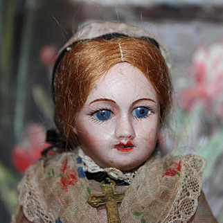"""6 1/2"""" tall French Antique SFBJ All Original condition! bisque head composition body original clothes, sleep eyes, open mouth, teeth, doll."""
