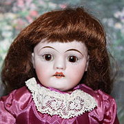 "Sweet face on this 10 1/2"" tall German Antique Kestner 154 doll, shoulderhead, one stroke brows, bisque hands, open mouth, teeth, gown"