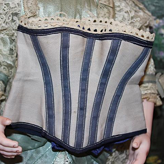 """Doll Corset, with  boning in navy and grey colors. Measures 5"""" wide  X 4 1/2"""" tall in size laying flat.  Good for dolls trousseaux! it fits  9"""" around the waist."""