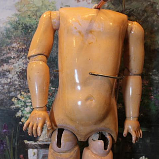 """German Antique doll body only, replaced lower legs with damage. 25"""" 1/2"""" tall in size, neck opening is 1 15/16"""" in size."""
