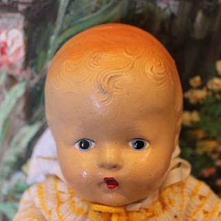 """Vintage American Composition baby doll, great condition on the body, 12"""" long in size, well strung!"""