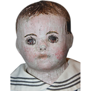 """Great 24"""" Ella Smith Alabama Baby Babies, Doll, Oil Painted, 1911 era, Antique cloth doll, Boy, Sailor, hand painted, sweet face!"""