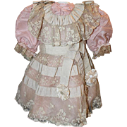"Pretty Pink Silk Doll Dress for your 23-24"" tall Antique Doll, antique fabrics and laces, clothes. - Red Tag Sale Item"