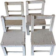 Set of 4 wood wooden, Schoenhut chairs! You get all four!!  off white color, original paint. Humpty Dumpty Circus chairs!