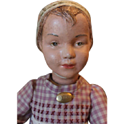 "Rare Bonnet Schoenhut Wood doll,  Mold 16/106, carved hair and carved bonnet, missing paint,  17"" tall, has 2 right hands. Repaint on the face! can pose too!"