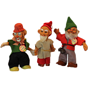 Steiff gnomes, 3, Clownie, Pucki and ornament Steiff toys, Elves, tagged Steiff - Red Tag Sale Item