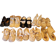 "On Hold for Ingrid!! 9 Pairs of Vintage Baby Shoes! Leather boots,  black shoes, black leather pair, tan leather shoes! You get all 9 pairs. 4"" long and 5"" long in size! Could use for large Doll Shoes too!"