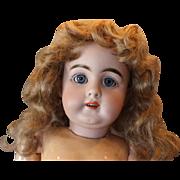 "Reduced Price!! Large 25"" tall Kestner #156 mold, rarer doll, German Antique, original patina, damaged finger, some wig pulls. Vintage clothing. Red lines on toes, Hands probably repainted."
