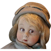 "On Hold for Heather!! 1929 Lenci Felt Cloth  Girl Toddler Doll 12 1/2"" tall, Series 111/26 Cabinet Doll.  Faded from age and dusty. Sweet face! Early model!"