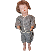 "Hard to find, Walkable Schoenhut doll, 16-17"" tall, Great condition! original mohair wig, vintage clothes, original paint on him! 1919-1926 era."