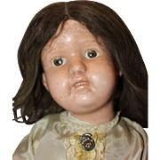 "On Sale!! 19"" tall Wood Antique Schoenhut doll, Miss Dolly, wear on face, replaced Schoenhut hands, impressed mark, original dark brown mohair wig. vintage clothes."