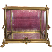 "Wonderful and Rare 19th Century Metal, Gilt or bronze metal Vitrine, Table top, Beveled Glass on every side. crack in glass on corner top. pictures included. Rare find! Display Case, Display box. 11"" T X 12 1/2"" long X 9 1/4"". - Red Tag Sale Item"