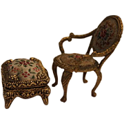 French  antique Ormolu gold metal  framed small doll house furniture.   Chair and  ottoman, with petit point fabric, hand sewn!