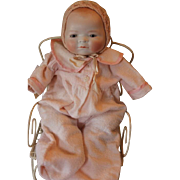 """Sweet small Bye Lo Baby Girl! 12"""" long in size, Grace Storey Putnam doll, free of hairlines, breaks or repairs! diaper, crocheted hat! bisque head and plastic hands."""