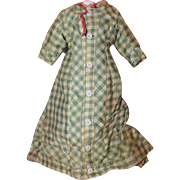"""Original Antique French Fashion Doll Gown. Green and tan check print. Stiff cotton fabric. Fits a 15"""" tall doll. Wear to the dress in places. Lined inside. Holes and worn fabric. Jumeau, Bru, Huret doll dress, clothes."""