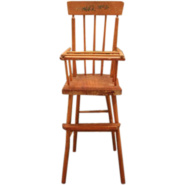 "Vintage Wood Doll High Chair! 21"" Tall In Size! 8 3/4"