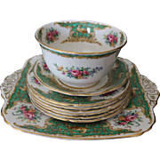 Group of FOLEY bone china, Montrose is the pattern and Made in England, 9 pieces in all in this set. Floral design, English china pattern.  Roses and pheasant pattern. Green, pink, gold, yellow and purple colors.