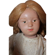 "Lovely 15"" wooden Schoenhut doll, Early 1900's, Closed mouth brown painted eyes, mohair wig that is nailed onto the head. painted eyelashes, Nice body patina, pink painted original lips."