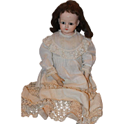 """25"""" tall Beautiful Papier Mache doll, with human hair wig, great dress with antique lace and tiny pleats! Marked body!"""