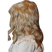 "Amazing Old blond hand wefted Mohair doll wig! Fits a 13"" head circumference, bangs and long curls!  Thick mohair and in wonderful condition. Hand made."