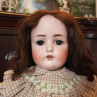 """29"""" large Hertel Schwab German Antique Doll, Replaced hands, Great body and face, Original body patina, with no repaint or repairs. Sleep eyes and eyelashes. #136 doll."""