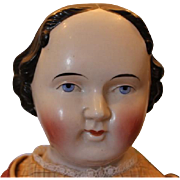 """24"""" long Kestner German China Head doll with repair on the back of the shoulderhead, old body and pantaloons, new shoes and clothes. Flat Top China head doll. Civil War Era, 1860's."""