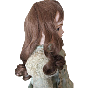 """French Cheveux Dark Brown Human Hair doll wig, for a  10"""" head circumference doll head. Long curls in original set with brown bangs."""
