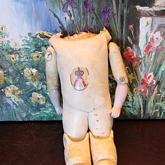 """Antique 13"""" Long Marked Kestner  JDK Label on chest! all original, except for one button on arm, as it is not metal. Body can sit. bisque arms, kid leather doll body."""