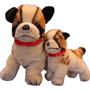 "Pair of Steiff Bully Bull dogs, 2 different sizes, 4"" tall and 6"" tall on the dogs. Great condition, although they have no tags or pins in the ears."