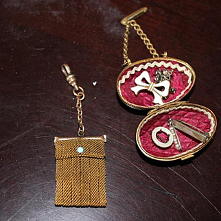 Pair of antique brass small doll size chatelaine purse, purses with 5 tiny doll pins inside! Hard to find size! Great for your fashion dolls, as a purse. For Bru, Jumeau, Huret dolls!
