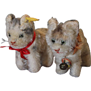 """Pair of 2 tiny Steiff old mohair  kittens, cats, only 3 1/2"""" tall, one has the yellow tag and pin in the ear, the other kitten has Tabby name tag around the neck with the bell. Adorable set!"""