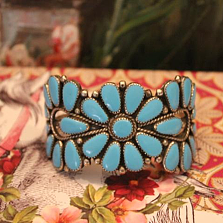 Turquoise Cuff  Bracelet, Silver and Turquoise  stones, Zuni or Navajo, 1940's. Handmade work of art, hand cut stones with silver bezels. Unmarked.