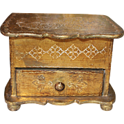 "Vintage Italian Venetian Wood chest, jewelry box with one drawer.  7"" X 4 3/4"" X 4 1/2""  in size. Gold paint, fleur de lys on drawer."