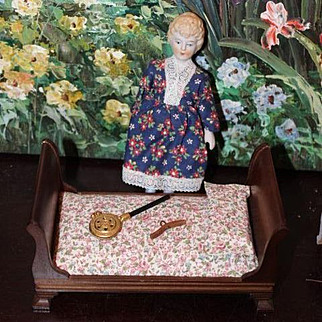 Group of doll and vintage wood sleigh bed, brass bed warmer,Old Parian type doll with new clothes. Doll House doll.