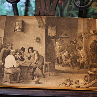 2 Antique Etchings, Cardboard, England, 1800's, Inside a pub and Dancing outside! Great condition!
