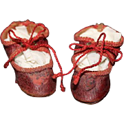 "Small Red Leather doll shoes with red laces! 2 1/4"" long X 7/8"" wide in size. Not dried out leather! For small size dolls!"