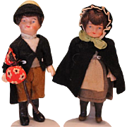 "Pair of Brother and sister matching dolls, marked  Germany on the back of them, 4 1/4"" tall in size. original clothes. composition dolls."