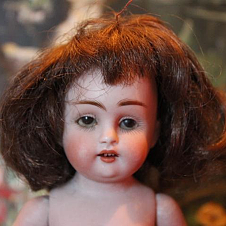 "7"" tall Kestner All Bisque 150 doll, with damage, hairlines, cracks and chips, needs restoration! Cute character mold! Restoration Project!!"